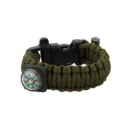 (MSOO Multifunctio Compass Rope Bracelet Wristband Survival Camping Hiking Climbing (Green))