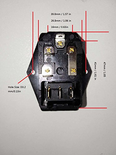 BVPOW Inlet Male Power Socket with Fuse Rocker Switch, 5A Fuse 3 Pin IEC320 250V 10A C14 Inlet Module for Computer and Home Appliance Power Accessory 2 PCS by BVPOW (Image #8)