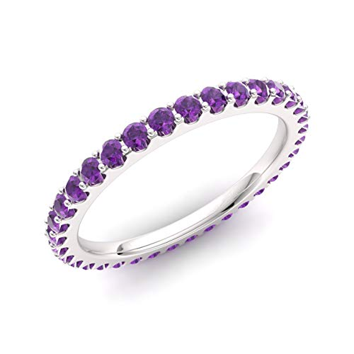 Diamondere Natural and Certified Amethyst Wedding Ring in 14K White Gold |0.74 Carat Full Eternity Stackable Band for Women, US Size 7
