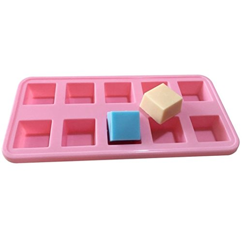 Allforhome(TM) 10 Squares Silicone Chocolate Mold Handmade Sample Soap Molds Dessert Biscuit Candy Molds Ice Cube Tray