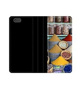 Marrakech zoco de: funda de piel con tapa épices 01 con tarjeteros y compartimento para billetes iPhone 4 4S 5 5S 6 6S/Samsung S3 S4 S5