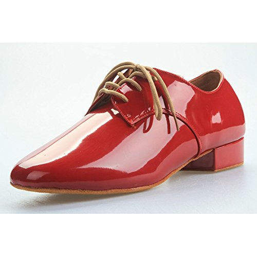 Minishion QJ801 Herren Lace-Up Leder Modern Salsa Tango Ballsaal Latin Hochzeit Tanzschuhe rot