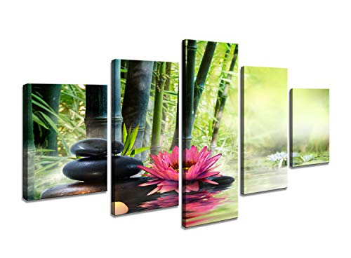 Cao Gen Decor Art-AH40639 5 Panels Canvas Art Zen Canvas Prints Spa Wall Decor 1 Panel Artwork Modern Pictures Framed for Home Decor - Spa Massage Treatment Safflower Water Lily Bamboo Black Stone -