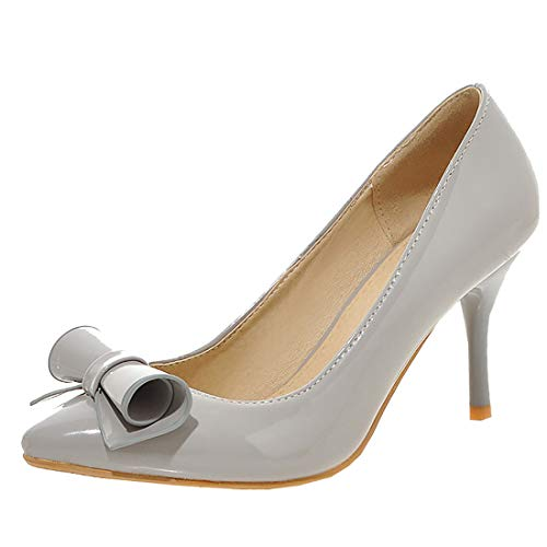 Artfaerie Womens Bows High Heel Pointed Toe Stilettos Pumps Patent Leather Court Shoes (US 9, Grey)