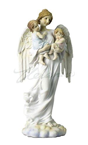 Polystone Cherub (Angel Holding Boy And Girl Light Color Polystone Statue Figurine)