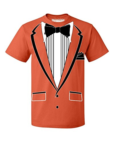- Promotion & Beyond Tuxedo (Black) with Pocket Square Ceremony Men's T-Shirt, L, Orange