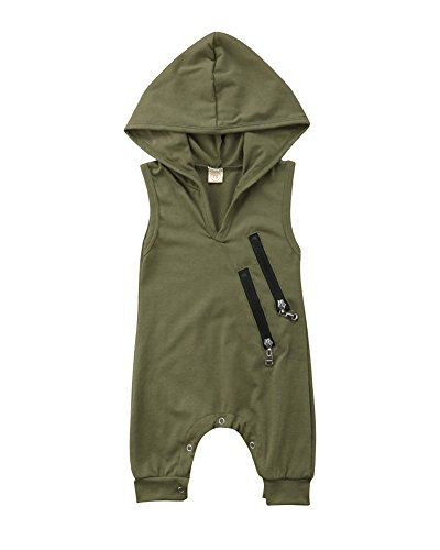 Sleeveless Newborn Baby Boys Girls Hooded Romper Green Jumpsuit Outfit Summer Zipper Casual Clothes (18-24 Months, Green) -