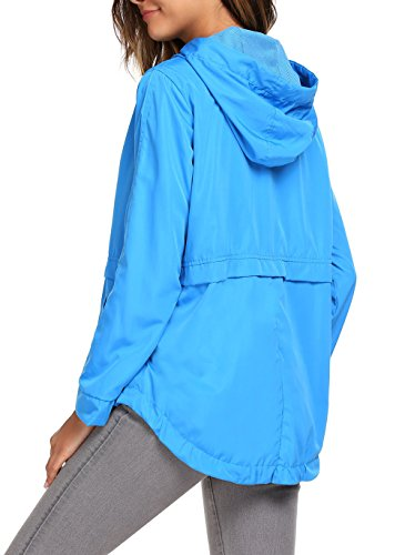 Estilo de Deportivo Chaquetas azul Cortaviento con Capucha Mujer Cielo Soteer Abrigo 1 B781nq15