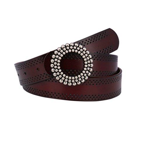 Damara Women's Wide Belt Round Flower Adorn Buckle Genuine Leather Waistband,Coffee (Buckle Closure Belt)