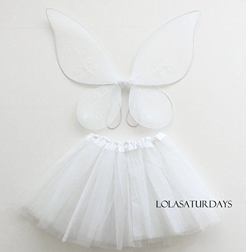 [Lolasaturdays Fairy wing and dress set (white)] (White Fairy Costumes)