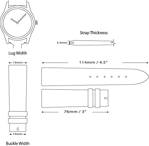 deBeer brand Smooth Leather Watch Band (Silver & Gold Buckle) - Black 15mm by deBeer Watch Bands (Image #4)
