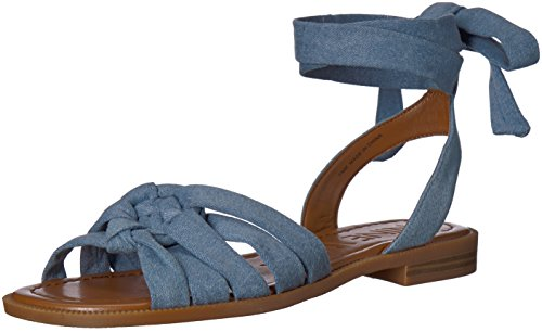 (Nine West Women's XAMEERA Flat Sandal, Light Blue Denim 9.5 Medium US)