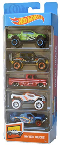 Hot Wheels 5 Pack Hot Trucks with Rare Black Jeep Wrangler, Green Ford Raptor f-150