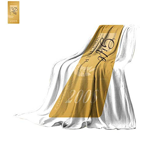 Soft Blanket Microfiber Digital Printing WarmSet of elegant shiny gift voucher with golden bow ribbon and paper shopping bag Vector template for gift card coupon and certificate Throw Blanket 62