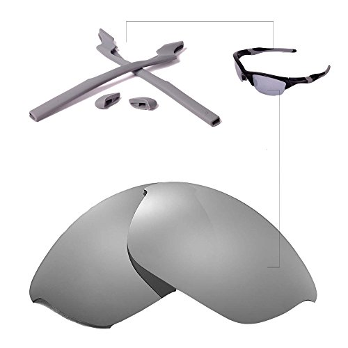 Walleva Polarized Lenses And Rubber Kit(Earsocks+Nosepads) for Oakley Half Jacket 2.0 Sunglasses - Multiple Options Available(Titanium Mirror Coated Polarized Lenses + Grey - Jacket Ti