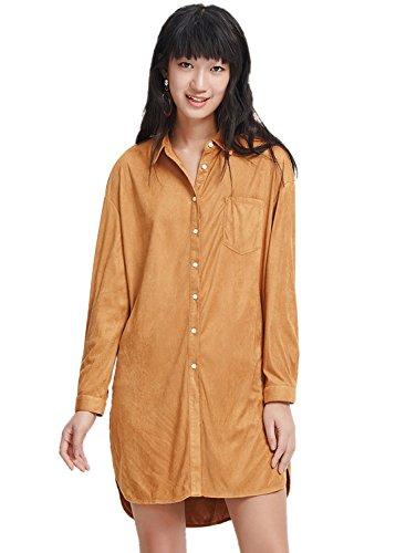 meters-bonwe-womens-plain-shift-faux-suede-button-front-shirt-short-dress-khaki-l
