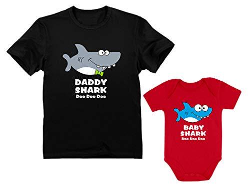 Baby Shark Bodysuit & Daddy Shark T-Shirt Doo Doo Doo Funny Set Newborn & Dad Daddy Black Large/Baby Red 24M (18-24M) ()