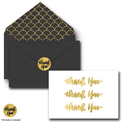 Gold Foil Thank You Cards - Includes 20 Bulk Blank Sets on Linen Paper, Gold Foil Envelopes and Matching Stickers - Greeting Cards Great for Baby Showers, Appreciation, Birthdays & Weddings ()