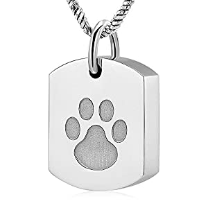 Cremation Jewelry for Dog Ashes【Stainless Steel Paw Print 】Square urn Pendant Memorial Necklace Ashes Keepsake locket for Men/Women(silver)