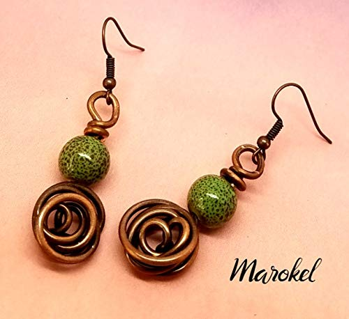 Abstract Rosette - Green Rosette Copper Wire Earrings Abstract Ceramic Bead