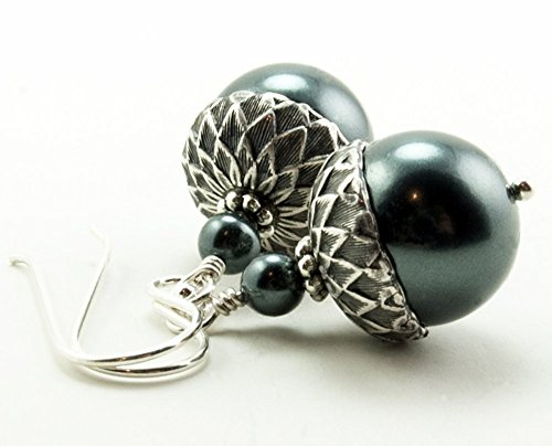 Acorn Earrings with Tahitian Shade Simulated Pearls from Swarovski, Sterling Silver Earwires