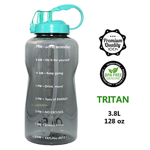 QuiFit 128oz Portable Drinking Straw Daily Water Bottle Sport Water Jug Gallon BPA Free Non Leak Design with Time Marked to Ensure You Drink Enough of Water Throughout The Day (Agate Green)