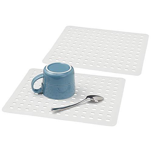 mDesign Modern Kitchen Sink Dish Drying Mat/Grid - Soft Plastic Sink Protector - Cushions Sinks, Stemware, Wine Glasses, Mugs, Bowls, Dishes - Quick Draining - 12.5