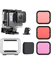 Conjunto zubehor la acción de la cámara 45M impermeable Carcasa subacuática Buceo caja del filtro de buceo + Color de la lente Fit Kit for GoPro Fit For Hero 5 6 7 Negro en forma for el Go Pro 7 acces