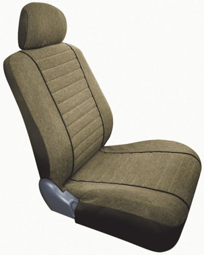 Saddleman Custom Made Front/Rear Bucket Seat Covers - Cambridge Tweed Fabric (Camel)