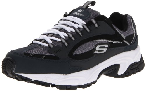 Skechers Sport Men's Stamina Nuovo Lace-Up Sneaker,Navy/Black,10.5 XW US
