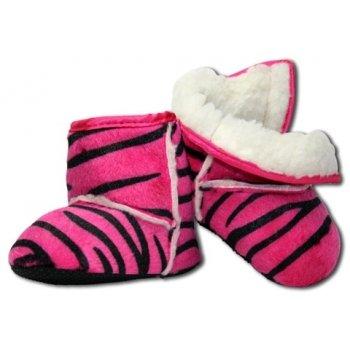 La Panoplie des Petits–Stiefel weich für Baby, Typ Ugg, Motiv Zebra, Farbe: Fuchsia