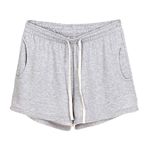 Women Short Pants, JOYFEEL ❤️ Ladies Cotton Linen Casual Elastic Waist Pants Drawstring Solid Summer Walking Shorts Light Gray]()
