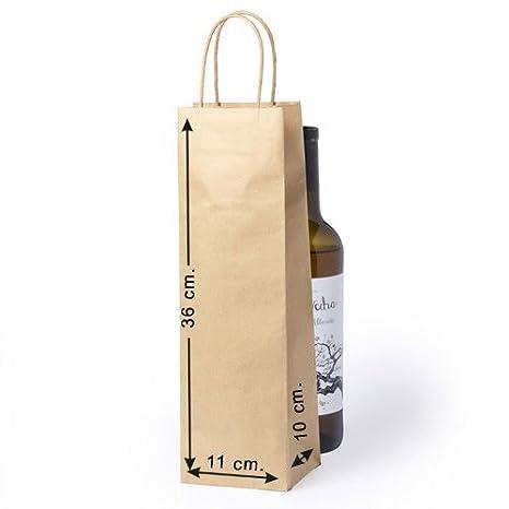Siglo XXI 10 x Bolsas de Papel para Botella con Asas Tam. 11 x 36 x 10 cm.