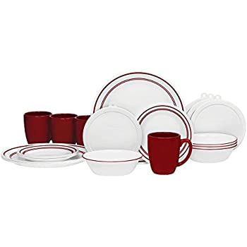 Corelle 20 Piece Livingware Dinnerware Set with StorageClassic Cafe Red Service for 4  sc 1 st  Amazon.com & Amazon.com: Corelle 20 Piece Livingware Dinnerware Set with Storage ...