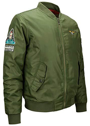 Casual Clásica Invierno 1 Acolchado Vuelo V Y Deporte Ligero Cuello Chaqueta green De Ropa para En Aérea Fuerza Chaqueta Bombardero Chaqueta para con Otoño Hombre RHwYgq7O