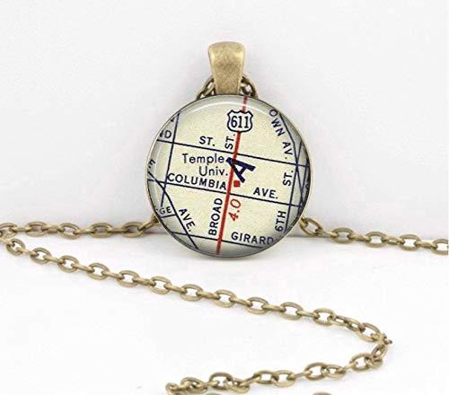 Death Devil Patriotic Necklace,Temple University Philadelphia New Grad Alumni Gift Vintage Map Pendant Necklace or Key Ring