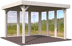 Cenador de madera Pérgola enrejado con techo, para el jardín, 12,2 m²: Amazon.es: Hogar