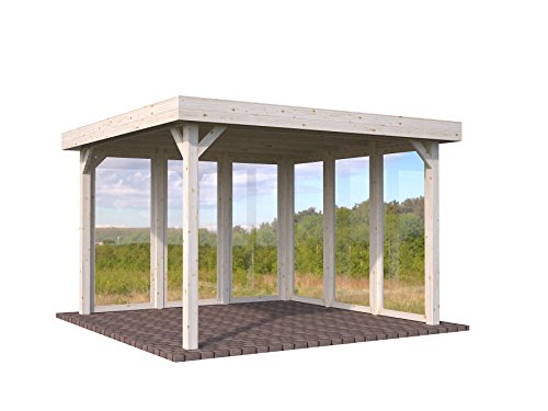 Pavillon aus Holz Pergola Pergola Seilspann-Vordach Holz Garten -12,2qm