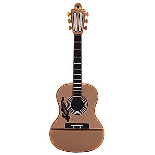 (RICH-Po 32GB Cute Design Fashion Guitar USB 2.0 Metal Flash Memory Stick Storage Thumb U Disk (Khaki/Black) (Khaki))