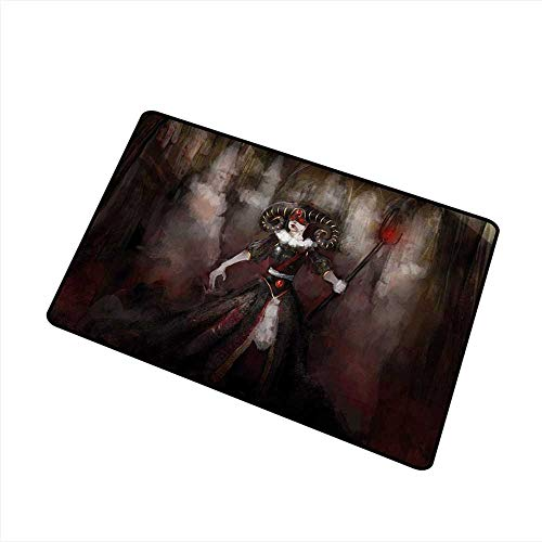 Diycon Thin Door mat Gothic Medieval Evil Woman Horns Mask Witch Myth Fantasy Old Fashion Scary Watercolor W35 xL59 Mildew Proof