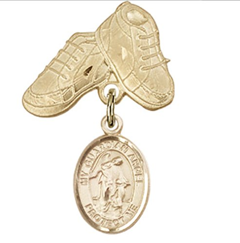 Beautiful Gold Filled Baby Badge with Guardian Angel Charm and Baby Boots Pin. Gift Boxed by Religious Faithful Gifts