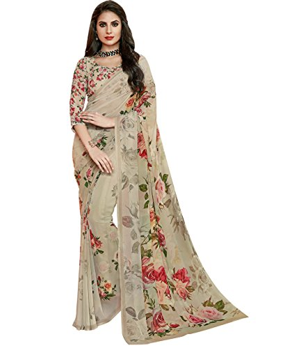 Indian Ethnicwear Bollywood Pakistani Faux Georgette Grey Coloured Printed Saree by Maahir Garments