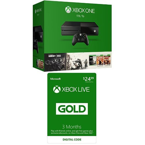Xbox One 1TB Console - Tom Clancy's Rainbow Six Siege Bundle with Xbox Live 3 Month Gold Membership [Digital Code]