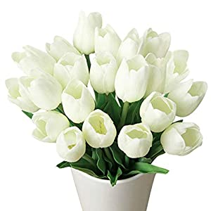 Meide Group USA 19″ Large Single Stem Real Touch Latex Artificial Tulip Flowers for Spring Arrangements, Bouquets, and centerpieces (6 PCS) (Milky White)