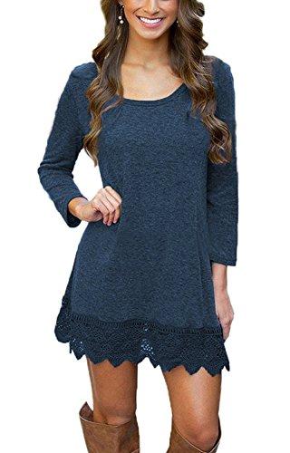 MiYang Women's Long Sleeve A-line Lace Stitching Trim Casual Dress