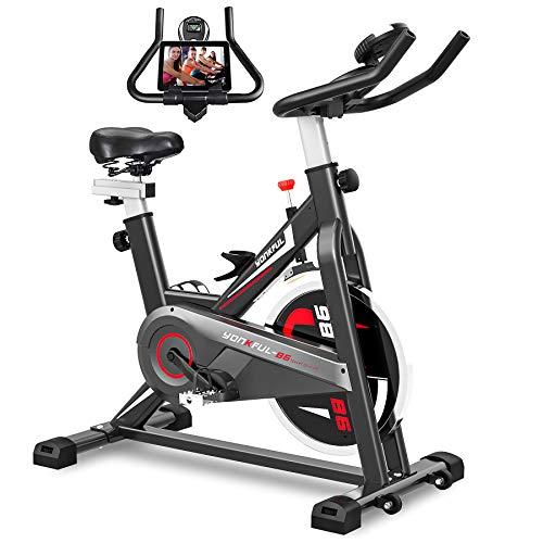 YONKFUL Exercise Bike Belt Drive Indoor Cycling Bike Adjustable Stationary Bicycle Home Gym Bike for Workout Cardio…