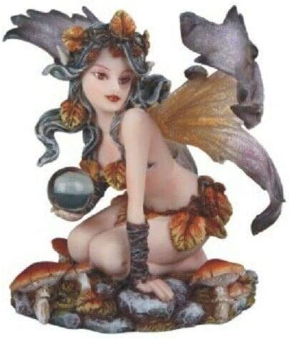 5 Autumn Fairy With Crystal Statue Sculpture Fantasy Decor Figure Everything Else