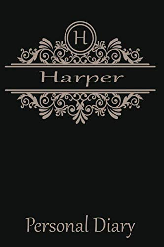 H Harper Personal Diary: Cute Initial Monogram Letter Blank Lined Paper Personalized Notebook For Writing & Note Taking Composition Journal
