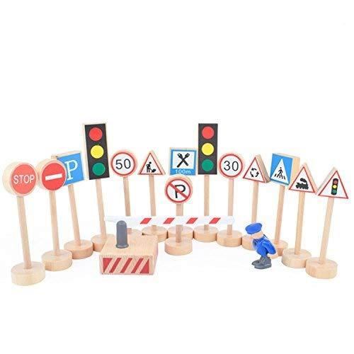 (Kaptin 15 Pcs Wooden Street Signs Playset, Traffic Signs Lights Playset for Children Play)