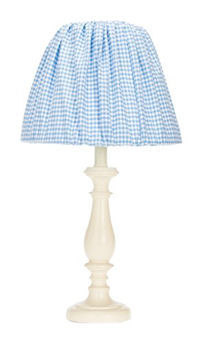 (Glenna Jean Starlight Lamp Base with Gingham Shade, Cream/Blue/White, 12